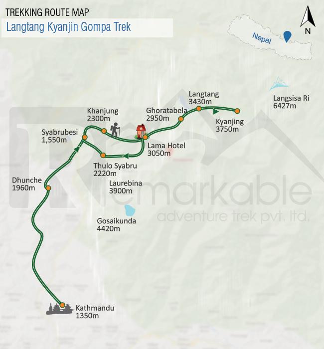 Langtang Kyanjin Gompa Trek Trip Map, Route Map