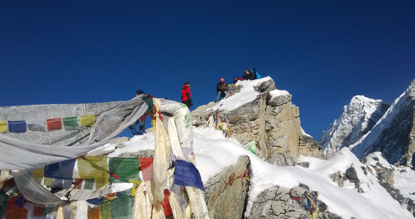 Group on the top of Klapathar the best view point of Everest Base Camp