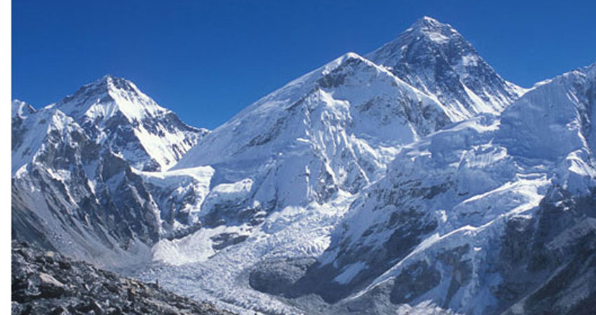 Khumbu Ice fall and Everest on the background