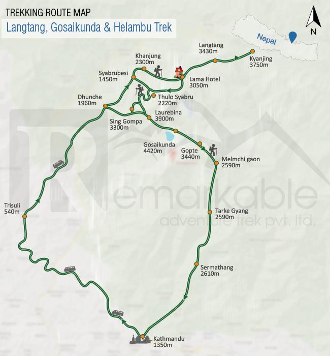 Langtang & Helambu Trek Trip Map, Route Map